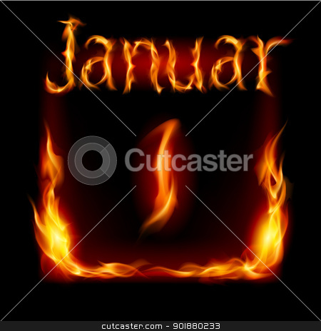 Calendar of Fire stock photo, First January in Calendar of Fire icon on black background by dvarg