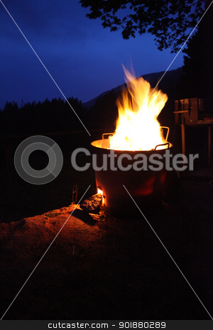 Fire on a blue sky night stock photo, At nightfall, the fire lights up the darkness. The yellow flames create a contrast with the deep blue sky by Dario Rota