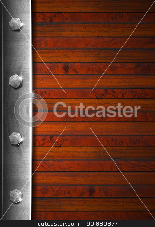 Vintage Wooden and Metal Background stock photo, Wood and metal vintage background with bolts and reflections   by catalby