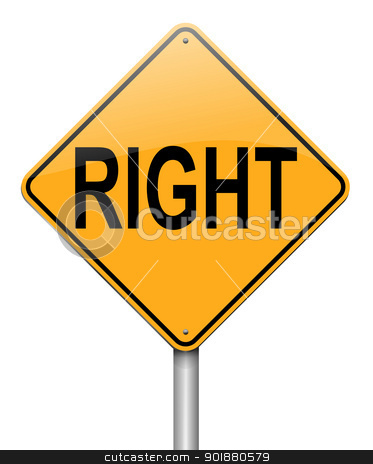 Right concept. stock photo, Illustration depicting a roadsign with a right concept. White background. by Samantha Craddock