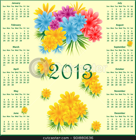 Calendar 2013 with flowers stock vector clipart, Calendar 2013 year decorated with colorful flowers. by toots77