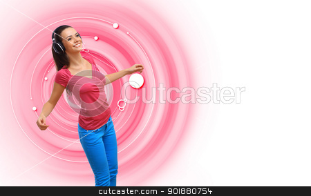 Happy smiling girl dancing stock photo, Happy smiling girl dancing and listening to music by Sergey Nivens