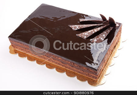 Chocolate glossy dark Cake on white stuffed with nuts stock photo, Chocolate glossy dark Cake on white stuffed with nuts by amgadedwardart