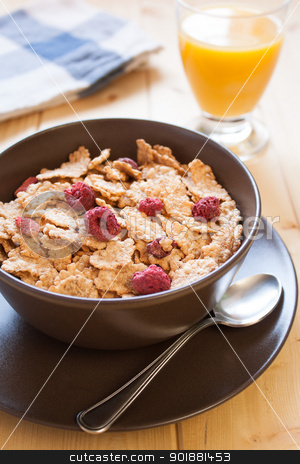 Breakfast cereals and orange juice stock photo, Bowl with rice flakes and strawberry for nourishing breakfast by Giordano Aita