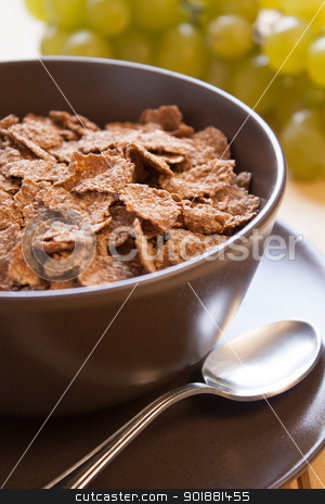 Integral cereal flakes for breakfast stock photo, Integral cereal flakes and grape for breakfast by Giordano Aita