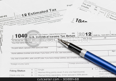 USA tax form 1040 for year 2012 stock photo, Tax form 1040 for tax year 2012 for US individual tax return with pen by Steven Heap