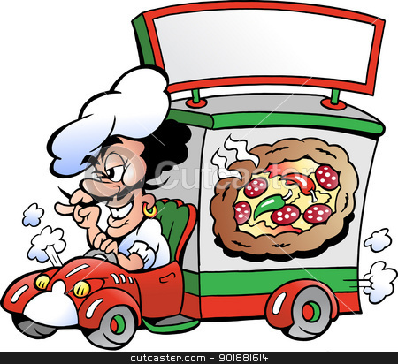 Hand-drawn Vector illustration of an Italien pizza dilevery car  stock vector clipart, Hand-drawn Vector illustration of an Italien pizza dilevery car by DrawShop - Poul Carlsen