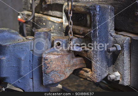 Vintage Train Car Hitch stock photo, A close up of a very old train hitch. by Jadthree