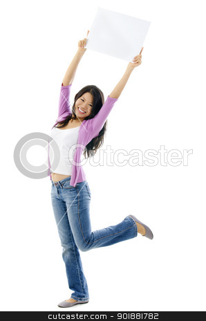 Adult Asian Woman stock photo, Happy Asian woman holding blank sign above her head. Full length on white background. by szefei