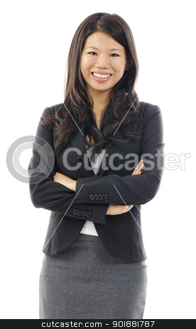 Asian business woman stock photo, Portrait of Asian business / educational woman over white background by szefei