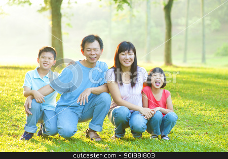 Outdoor family stock photo, Happy Asian family in the park by szefei