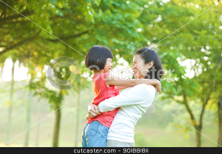 Mother and me stock photo, Asian mother hugging her daughter at outdoor park by szefei