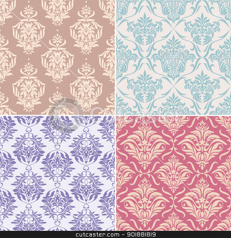 seamless floral patterns stock vector clipart, set of seamless floral pattern vector illustration by SelenaMay