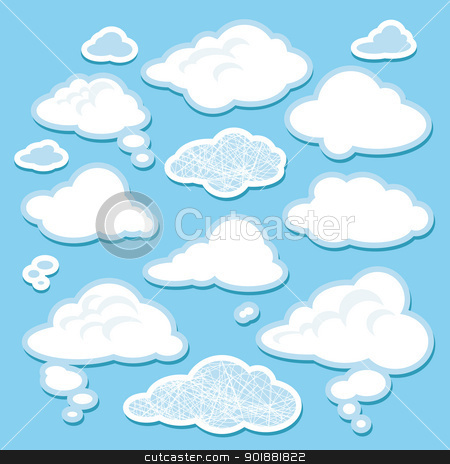 vector set of cartoon clouds stock vector clipart, set of simple cartoon clouds vector illustration by SelenaMay