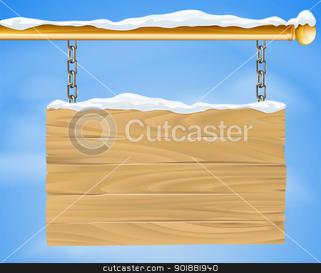 Christmas sign stock vector clipart, A rustic wooden snow covered winter Christmas sign hanging suspended from a brass metal pole with the blue sky in the background by Christos Georghiou