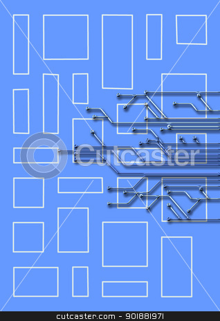 abstract set of printing conductors stock photo, abstract set of printing conductors for an electric circuit by Anatolii Vasilev