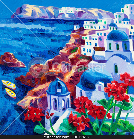 Santorini churches stock photo, Original oil painting showing Blue churches and white houses of Oia village at Santorini island with sea view. Greece.Modern Impressionism by borojoint