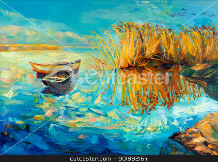 Baeutiful lake stock photo, Original oil painting of boats,beautiful lake and Fern(rush) on canvas.Sunset over ocean.Modern Impressionism by borojoint