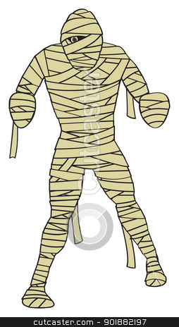 Cartoon Mummy stock vector clipart, A cartoon depiction of the classic egyptian mummy monster. by Jamie Slavy