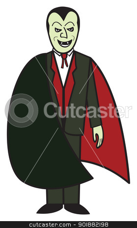 Cartoon Vampire stock vector clipart, A cartoon depiction of the classic vampire from Transylvania. by Jamie Slavy