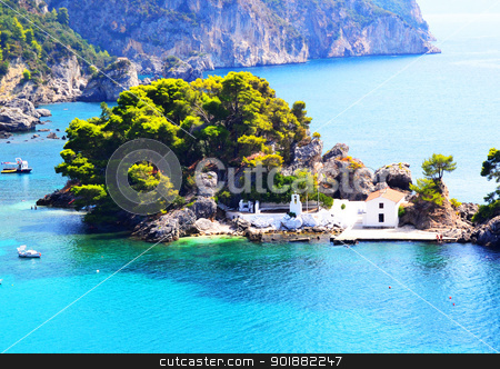 The bay coast under the bright sky of Italy stock photo, The bay coast with boats and houses under the bright sky by Anatolii Vasilev