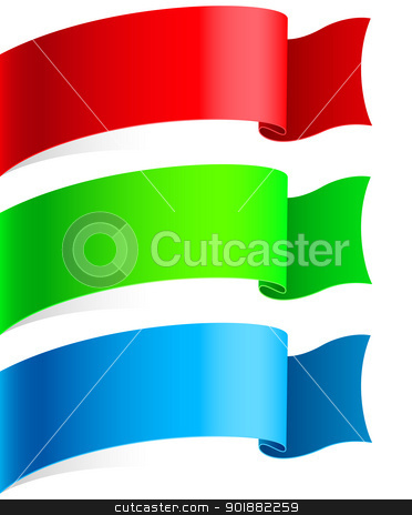 Ribbons Set stock photo, Ribbons Set, Isolated On White Background, Illustration by dvarg