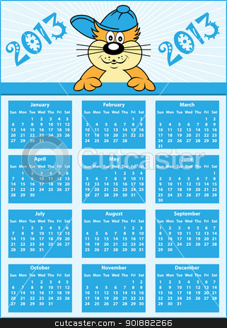 Calendar 2013 full year stock vector clipart, Calendar 2013 full year with cat cartoon character wearing baseball cap by toots77