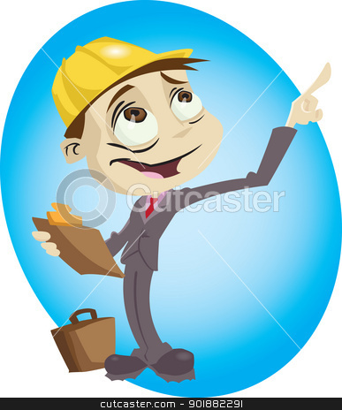 Architect stock vector clipart, A cartoon engineer surveys his build site. Illustrator .eps v10. Contains some transparency effects. by mojojojo