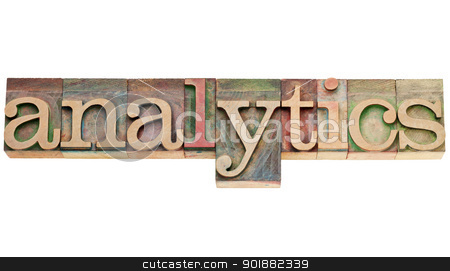 analytics word in wood type stock photo, analytics  - isolated word in vintage letterpress wood type stained by color inks by Marek Uliasz