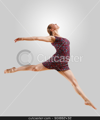 Girl in color dress dancing stock photo, Girl dancing in a color dress with a gray background. isolate by Sergey Nivens