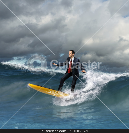 Young business person surfing on the waves stock photo, Image of young business person surfing on the waves of the ocean by Sergey Nivens