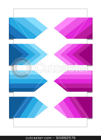 Set of Bookmarks with Texture stock vector clipart, Blue and violet bookmarks with gradient texture by Ludek Vodicka