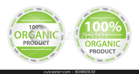 100% Organic Product Label in Two Versions stock vector clipart, Two product labels in green color by Ludek Vodicka