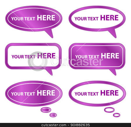 Purple Speech Bubbles stock vector clipart, Set of 6 purple speech bubbles by Ludek Vodicka