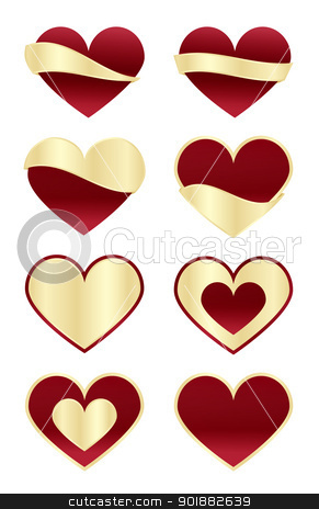 Set of Red Hearts with Gold Labels stock vector clipart, Set of 8 red hearts with 8 different gold labels by Ludek Vodicka
