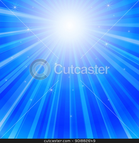 Ray of Lights in Ocean stock vector clipart, Blue rays of sun in the sea by Ludek Vodicka