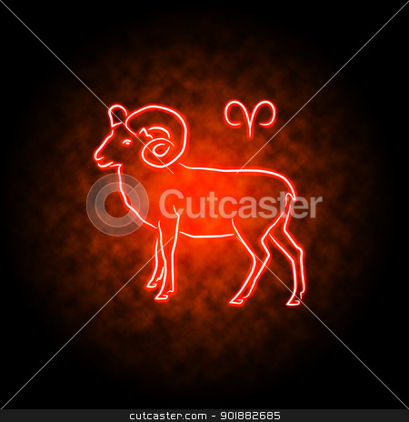 Aries stock photo, Aries zodiac sign glowing in the darkness. by Liubov Nazarova