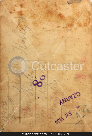 Old, stained paper background  stock photo, Old, stained paper background with hand writing and stencil  by Juliet Photography