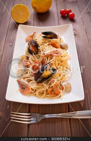 Spaghetti with clams, crayfish and shrimp stock photo, Tasty Spaghetti with clams, crayfish and shrimp by Giordano Aita