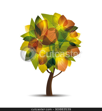 Autumn tree  stock vector clipart, vector illustration of an autumn tree by Miroslava Hlavacova