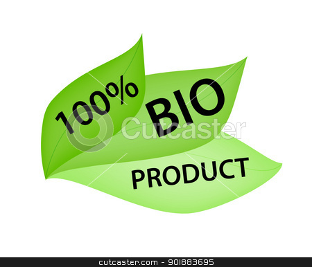 Green Label with Tag 100% Bio Product stock vector clipart, Green label in shape of leafs with tag 100% Bio Product by Ludek Vodicka