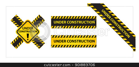Set of Labels and Ribbons with Under Construction Tag stock vector clipart, Collection of four labels and ribbons with Under Construction Tag by Ludek Vodicka