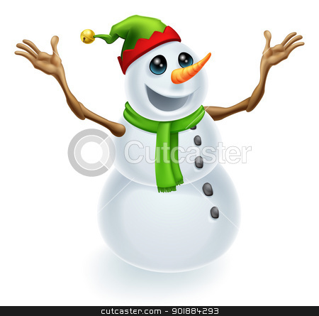 Happy Christmas Snowman stock vector clipart, Happy Christmas Snowman wearing a cute green and red pixie or elf hat  by Christos Georghiou
