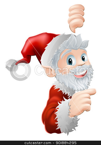 Santa peeking and pointing stock vector clipart, Cute cartoon Santa peeking round a sign or similar and showing or pointing at the information or image on it  by Christos Georghiou