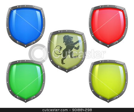 Shields in different colours stock vector clipart, Illustration of shield in 5 different colours and lion motif by Christos Georghiou
