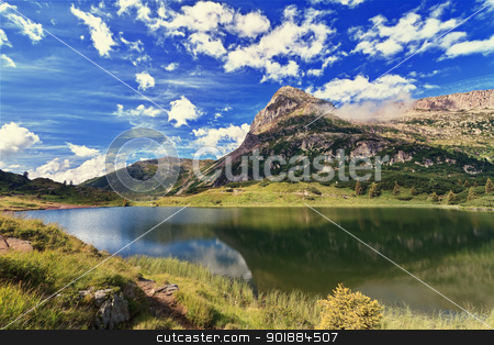 Colbricon lake - HDR stock photo, summer landscape of Colbricon lake, Rolle pass. Trentino, Italy. Image processed with HDR technique by ANTONIO SCARPI
