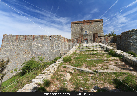 Pruin Castle, Liguria, Italy stock photo, Pruin Castle is a medieval fortress built over Genova, Liguria, Italy by ANTONIO SCARPI