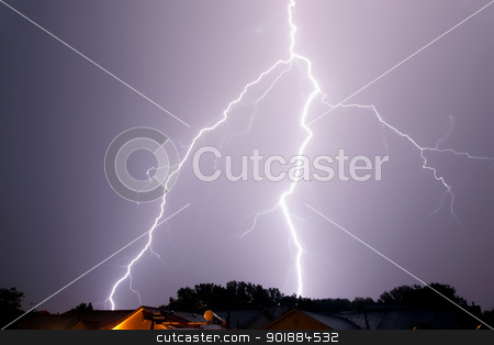 single lighting strike stock photo, lightning spanning across sky landscape by pasphotogaphy