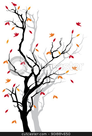 Autumn tree, vector stock vector clipart, Autumn tree with colorful falling leaves, vector background by Beata Kraus