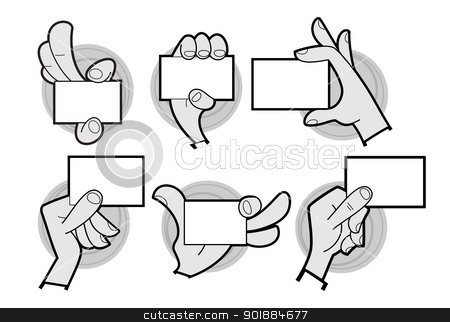 Cartoon hands holding card stock vector clipart, Set of cartoon hands holding a card isolated on white by Moenez